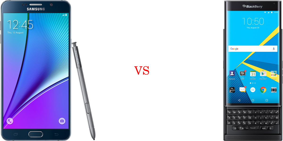 Samsung Galaxy Note 5 versus BlackBerry Priv 1