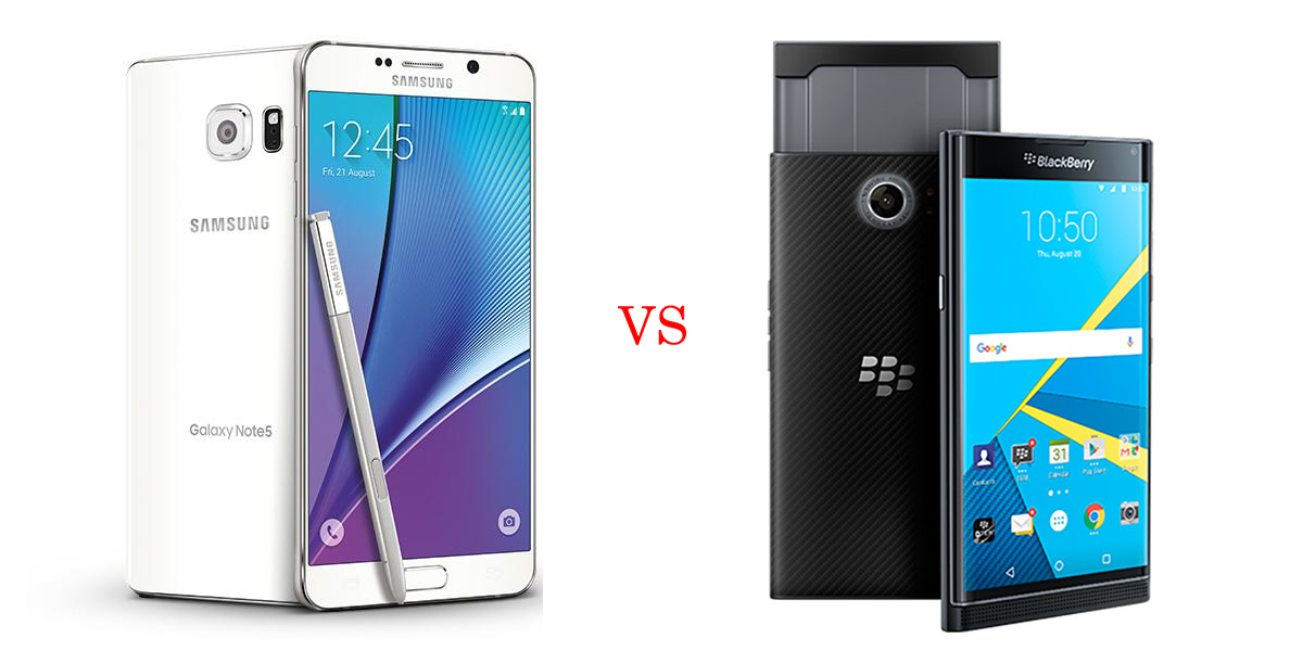 Samsung Galaxy Note 5 versus BlackBerry Priv 2