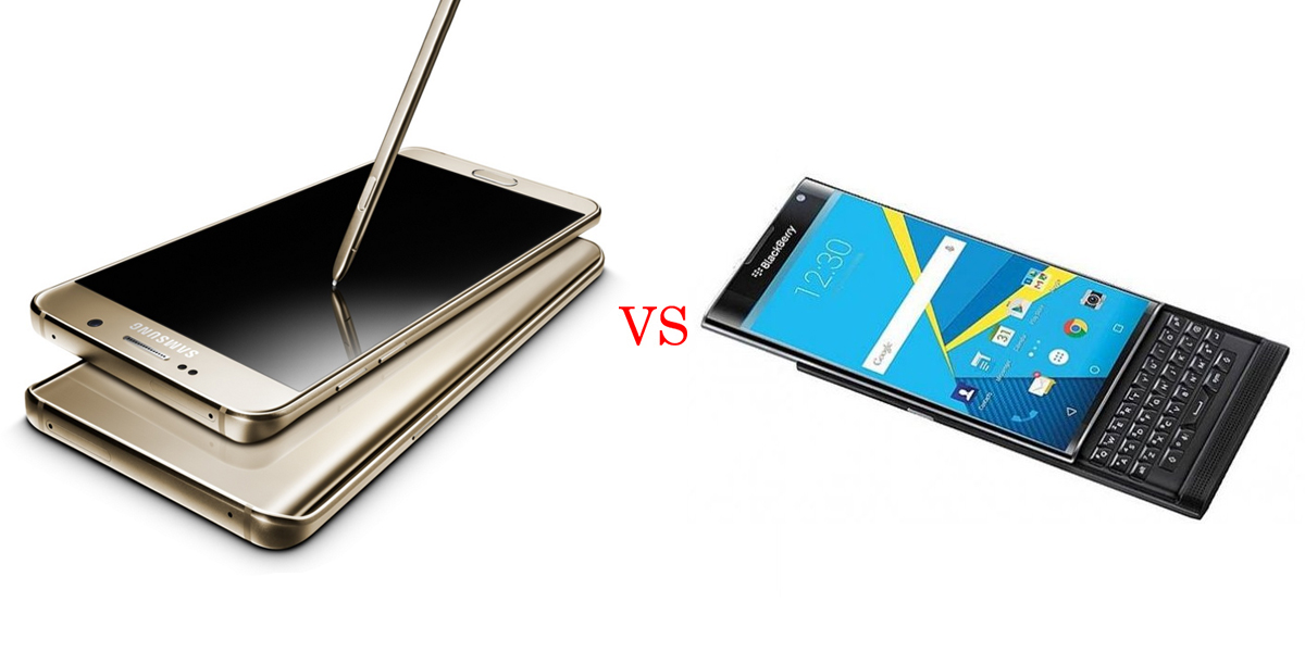 Samsung Galaxy Note 5 versus BlackBerry Priv 3