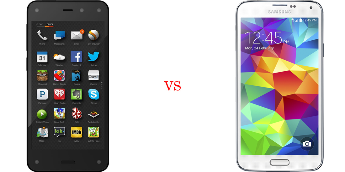 Amazon Fire Phone versus Samsung Galaxy S5 2