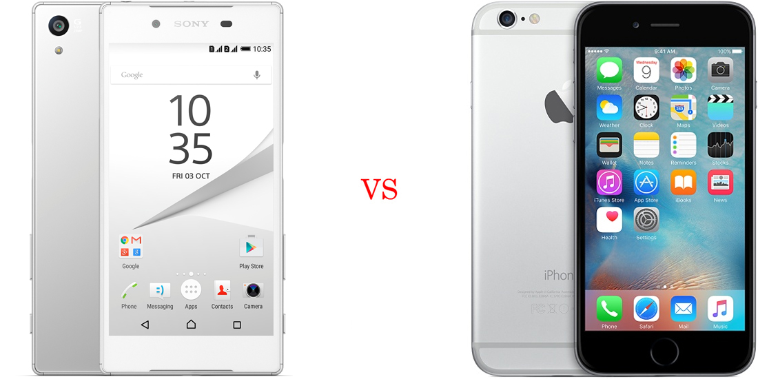 Sony Xperia Z5 Compact versus iPhone 6S 1