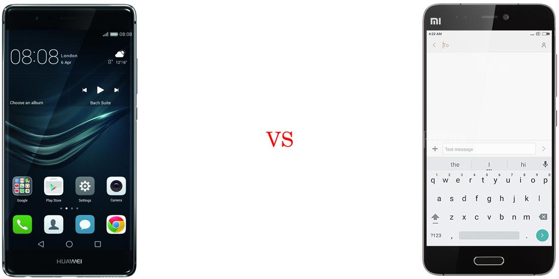 Huawei P9 versus Xiaomi Mi5 2
