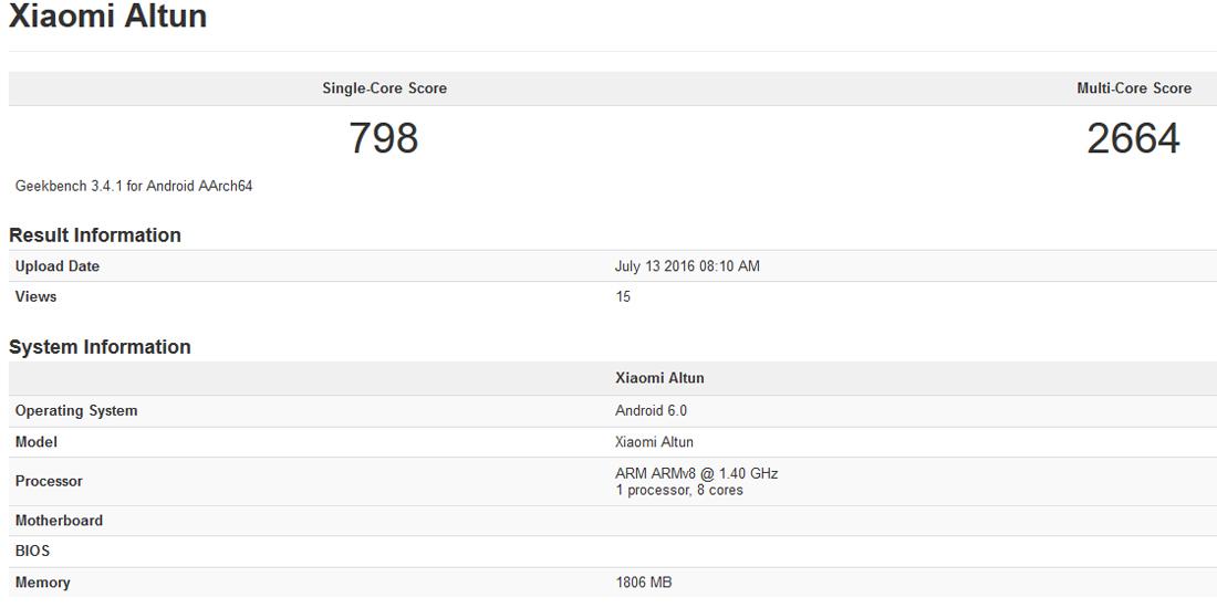 Xiaomi Altun, nuevo smartphone Android descubierto en Geekbench 1