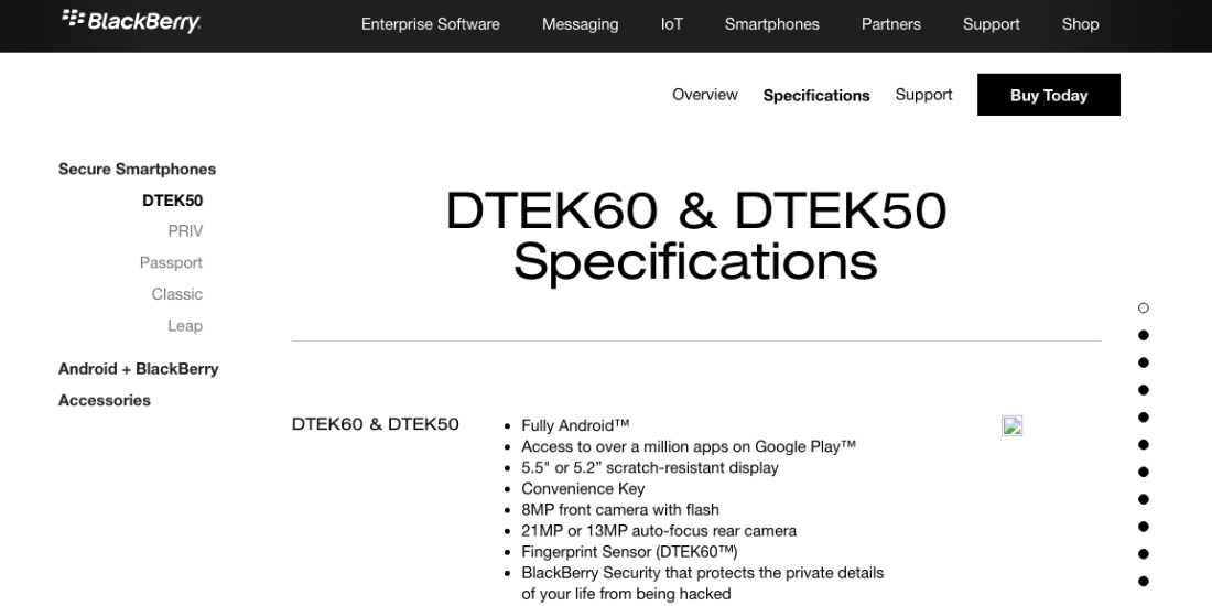 BlackBerry mistakenly reveals specifications of smartphone DTEK60 1