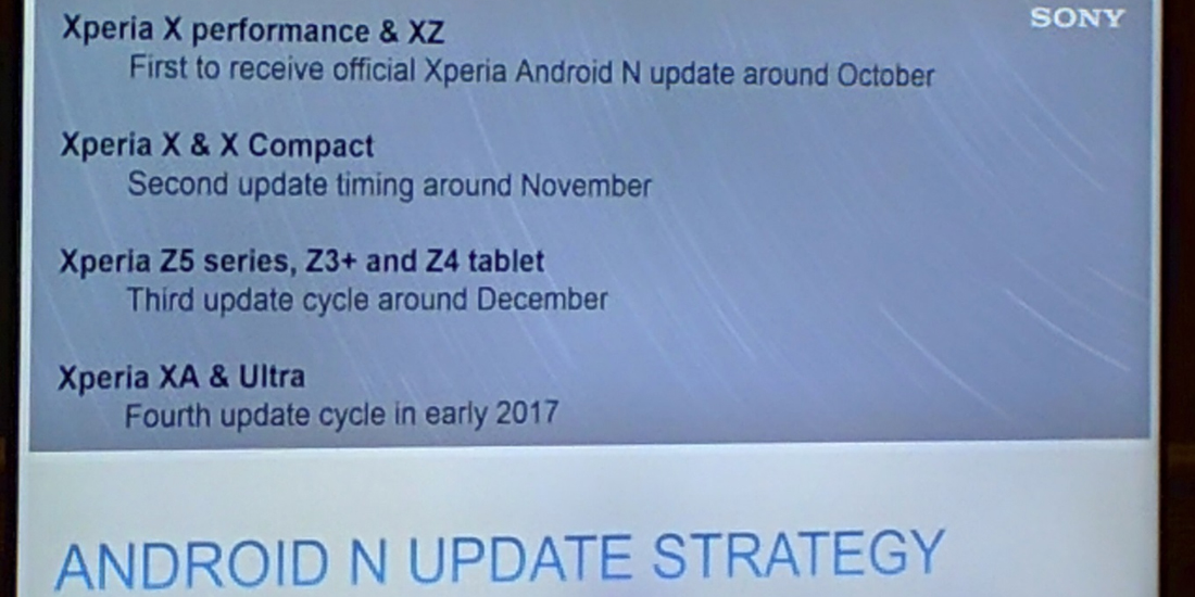 Sony Mobile shows roadmap for Android 7.0 Nougat 1