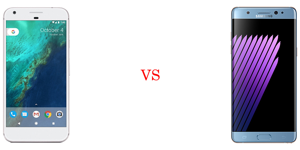 Google Pixel XL versus Samsung Galaxy Note 7 2