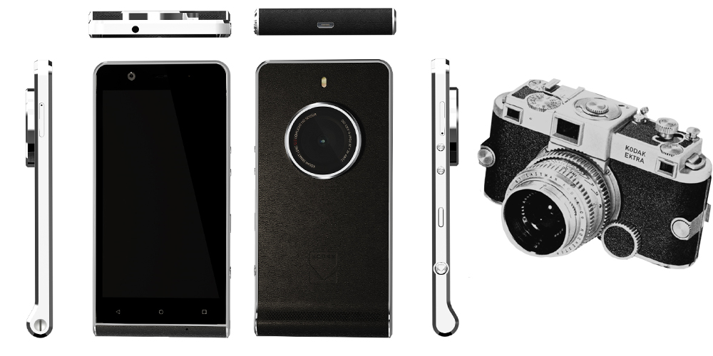 Kodak EKTRA, smartphone Android vintage que incide sobre a camera 1