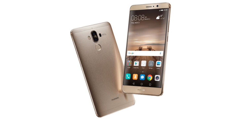 Huawei Mate 9 is presented next to the exclusive Porsche Design 1