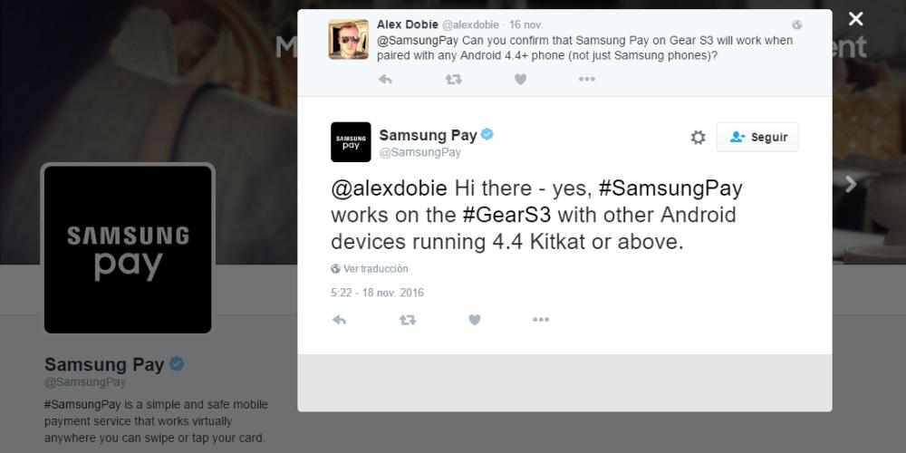 Gear S3 va a soportar Samsung Pay en smartphones de terceros 1