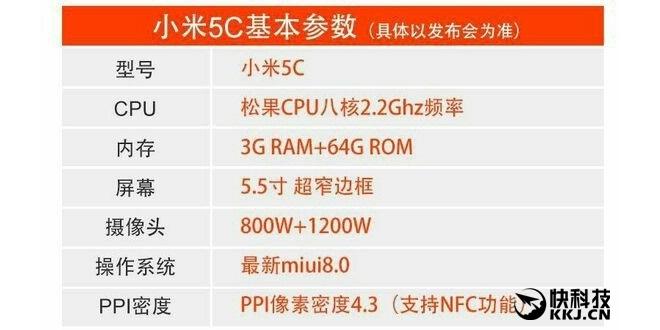 Xiaomi Mi 5c confirmado con SoC Pinecone y 5,5 pulgadas 1