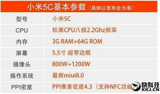 Xiaomi Mi 5c confirmado com SoC Pinecone e 5,5 polegadas 1