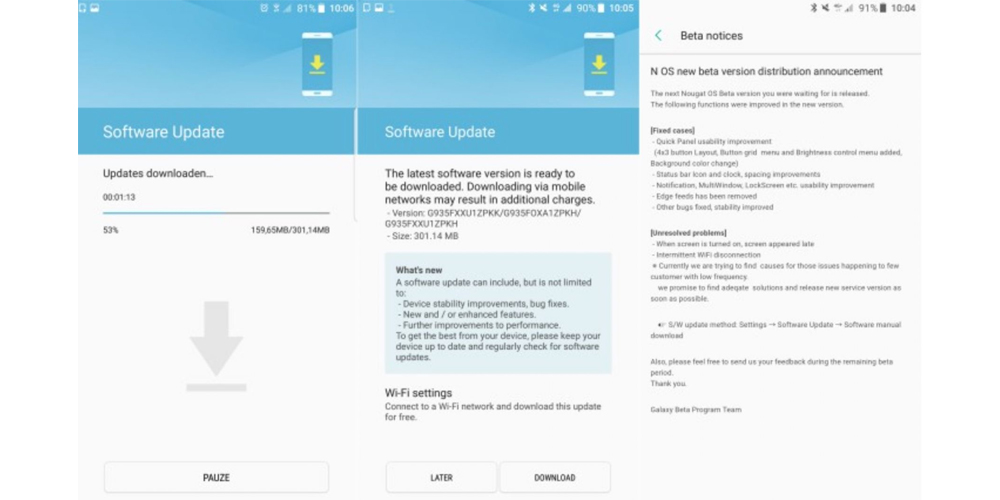 Samsung Galaxy S7 atualizado para 3a beta do Android Nougat 1