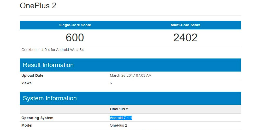 OnePlus 2 appears in Geekbench updated to Android 7.1.1 Nougat 1