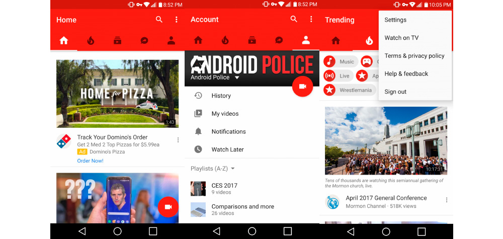 YouTube for Android becomes YouTube for iOS: new navigation bar 1