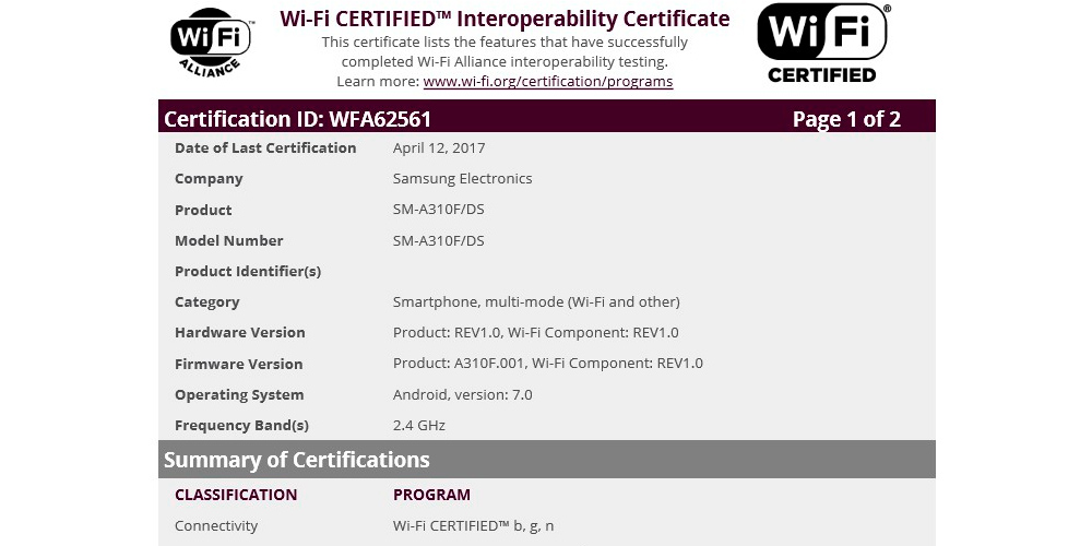 Samsung Galaxy A3 2016 con Android 7.0 Nougat y certificado Wi-Fi 1