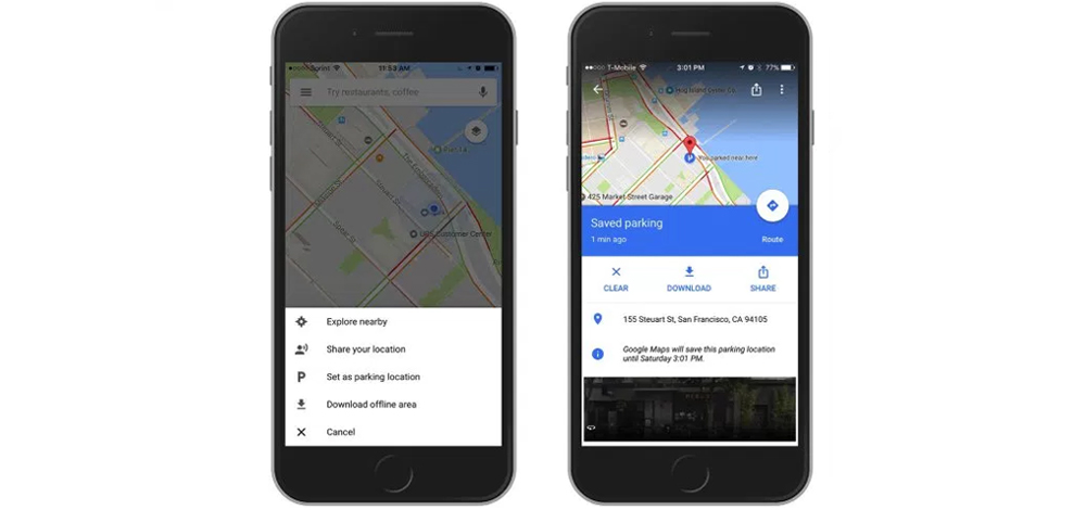 Google Maps for iOS and Android now remembers where we park 1
