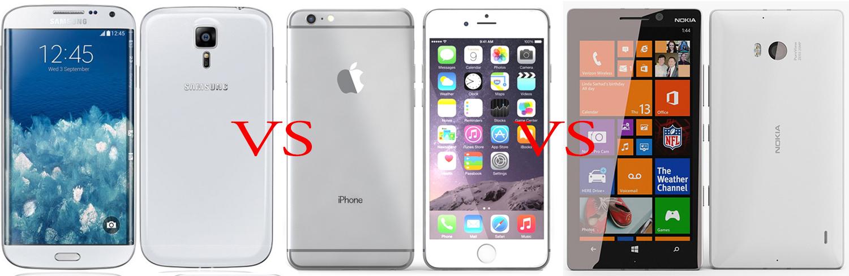 Samsung Galaxy S6 versus iPhone 6 versus Nokia Lumia 930 1